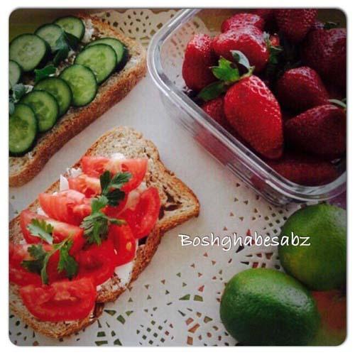 پنیر توفو، نان سبوسدار، خیار، گوجه فرنگی، سبزی خوردن