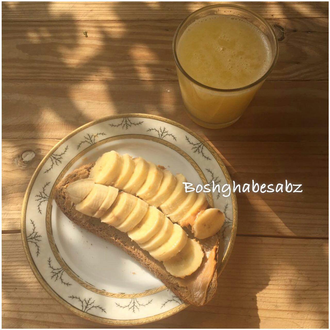 صبحانه-کره-بادام-زمینی-موز-گیاهی-وگن-وگان