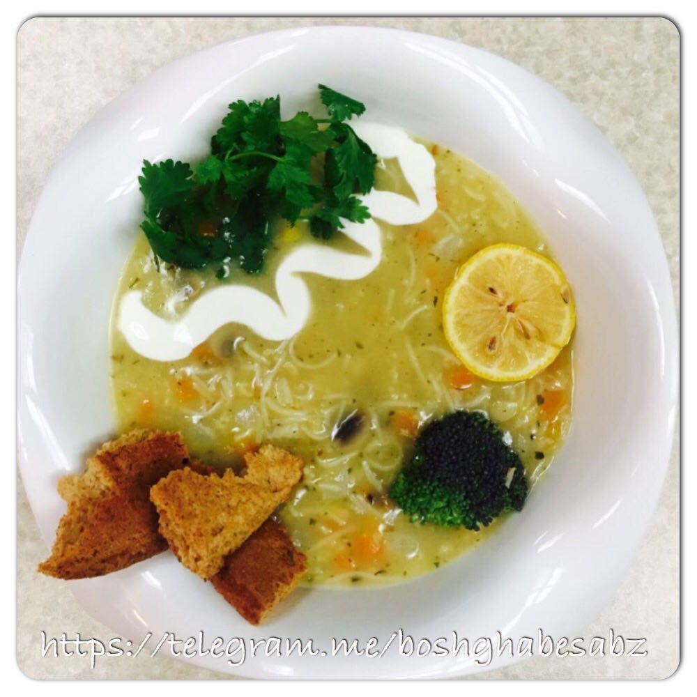 سوپ-ورمیشل-قارچ-گیاهی-وگن-وگان