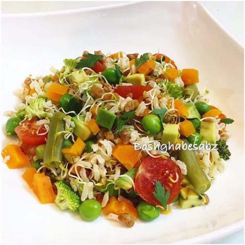 سالاد برنج قهوه ای و سبزیجات